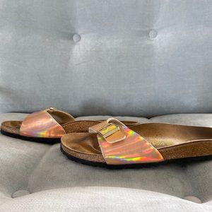 Birkenstock Rose Gold Metallic Rainbow Sandal 38 8